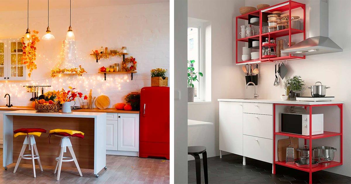 cucine rosse e bianche