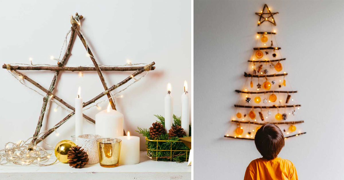 Decorazioni di Natale fai da te con rami e tronchetti.
