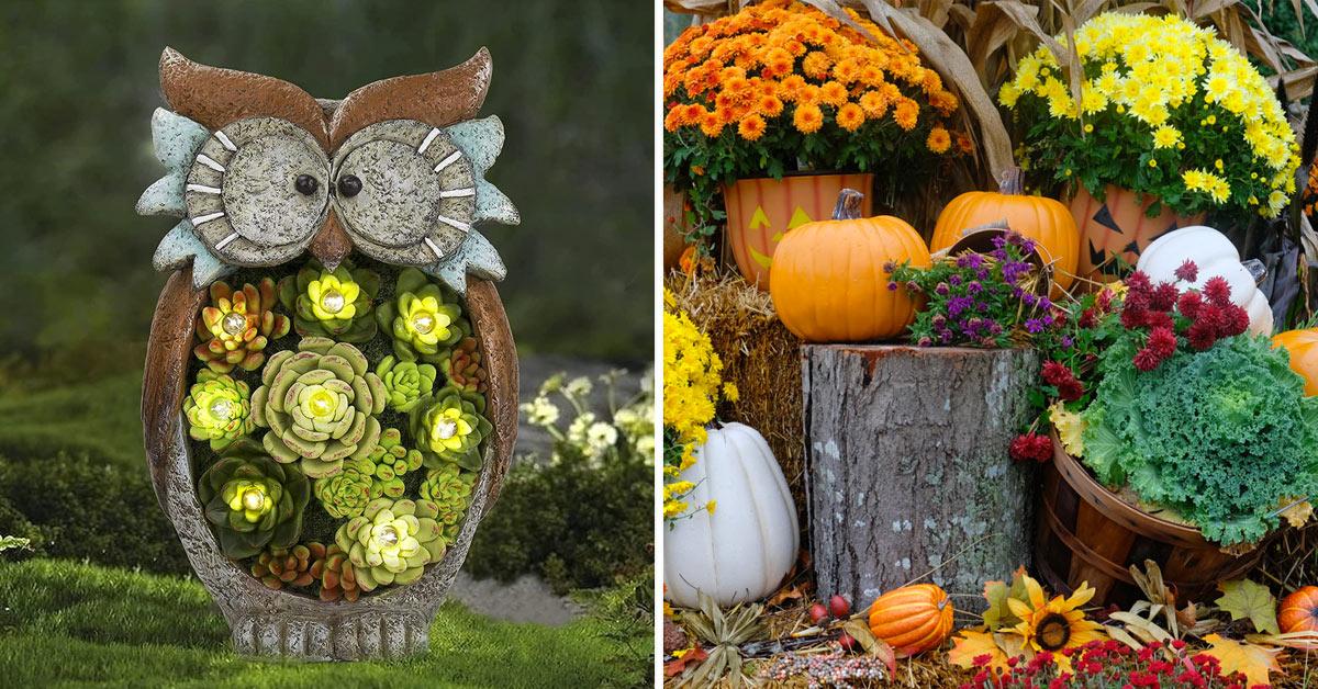 Simpatiche idee per decorare il giardino in autunno.