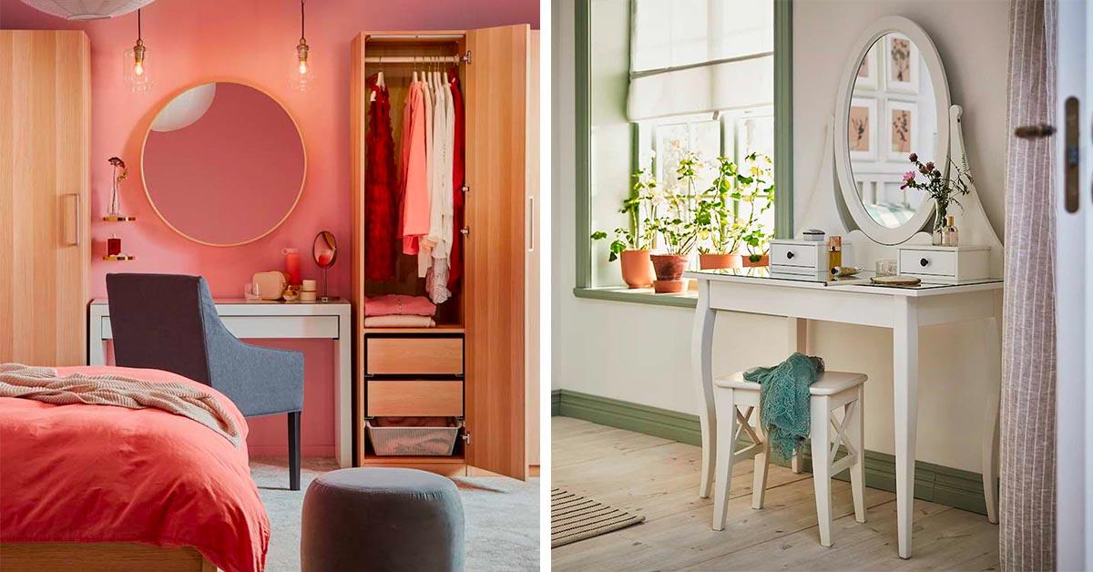 Postazione trucco con mobili e accessori IKEA.